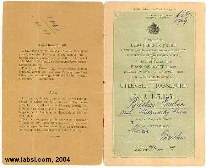 Slovakia genealogy research strategies passporthungary passport 1909 1 back credit to steve brickseg ccuart Images