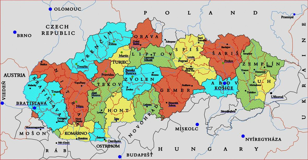 Slovakia genealogy research strategies overlay map present day slovakia with overlay of old hungary counties gumiabroncs Gallery