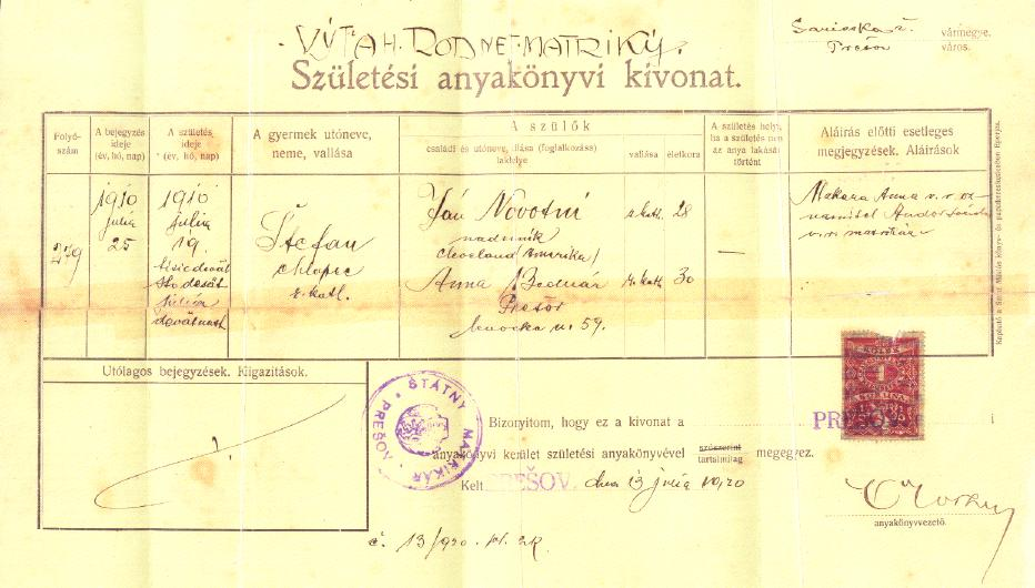 Slovakia genealogy research strategies 1948 issue of a reformed church baptism certificate kivonat birth of 1881 issued in hungary yadclub Gallery