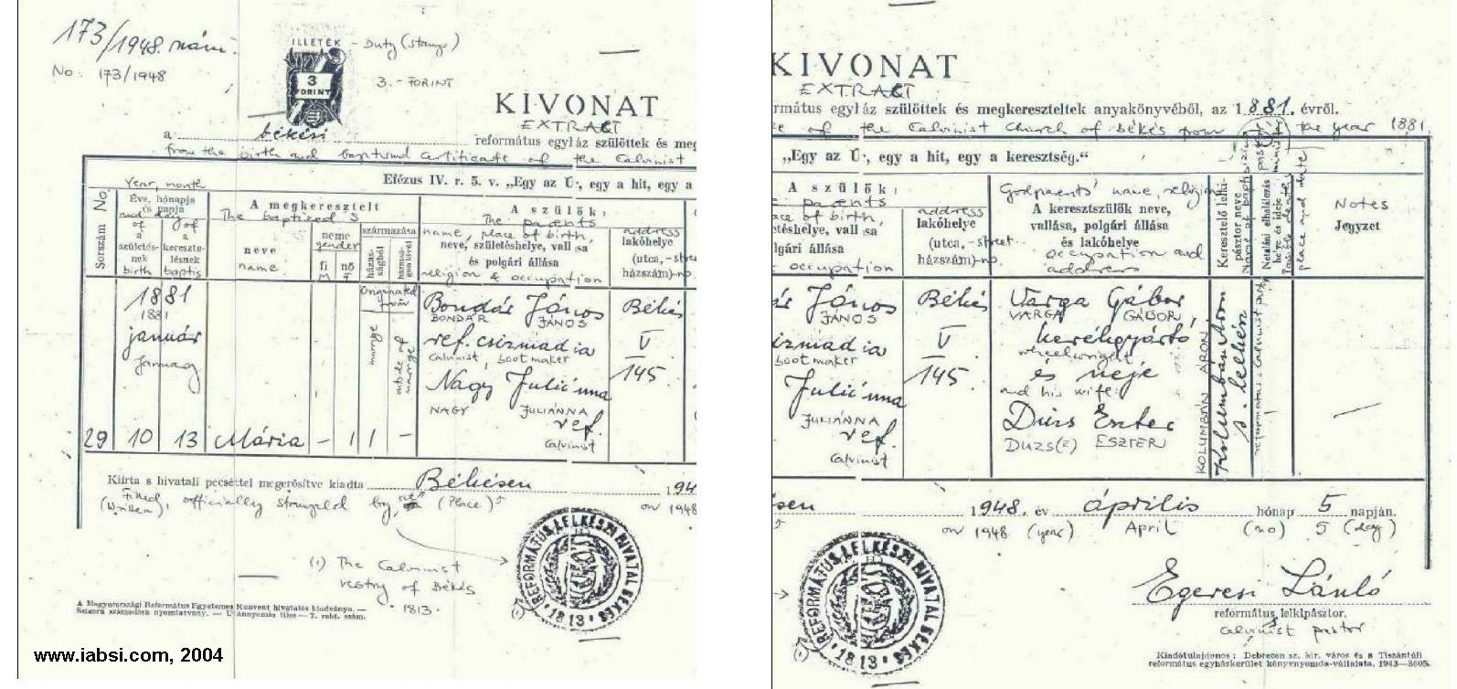 Slovakia genealogy research strategies 1913 issue of a roman catholic birth certificate kivonat birth of 1862 credit to paula knebler 1betcityfo Images